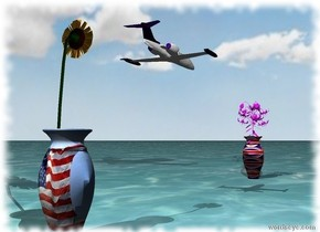 the tiny sunflower is in the small american vase. it is facing right. the american vase is facing front. the small [flag] vase is 6 feet to the right of the american vase. it is facing left.  the large magenta lily is in the [flag] vase. the ground is water. the sky is cloudy. the airplane is 1 foot to the right of and 1 foot above the american vase. it is 20 inches long. it is facing right.