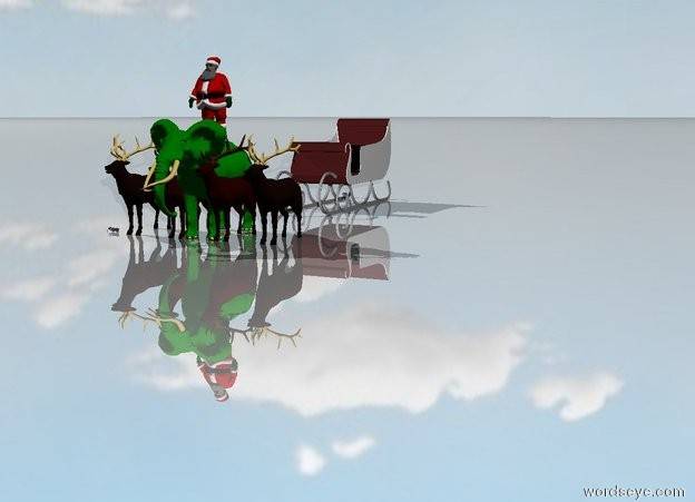 """Input text: the green elephant is facing forward. the elephant is 3 feet taller. the tusks are white. the ground is shiny. the sky is cloudy. A Santa is on the elephant.  4 reindeer are 1 feet in front of the elephant. there is a large sleigh 8 feet behind the elephant.  the sleigh is brown. """"merry christmas"""""""