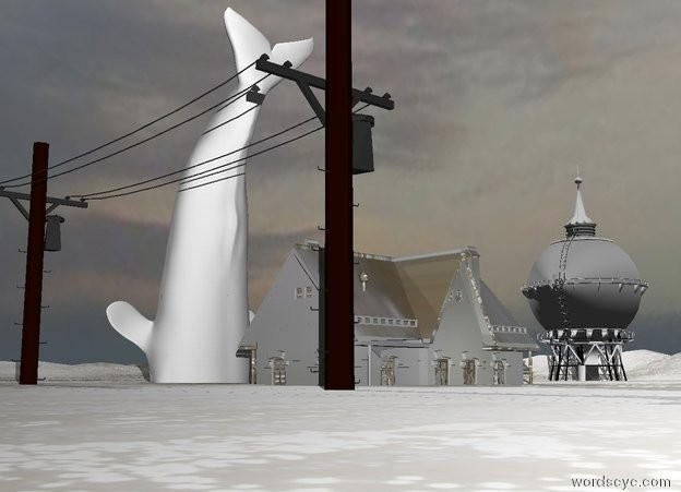 Input text: the white whale is on the white foam mountain range. it is facing east. it is face down. it is cloudy. the small white foam house is 7 feet to the right of the whale. the  silver water tower is 40 feet behind the whale. it is 40 feet tall. the ground is water. the pole is 6 feet in front of the house.