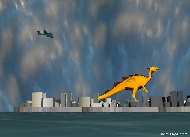Input text: There is a [industrial] Utah. it is cloudy. it is morning. the orange lizard is -40 feet above the Utah. it is 400 feet long. it is facing right. the ground is water. the huge airplane is 200 feet above and 200 feet to the left of the lizard. it is facing right.