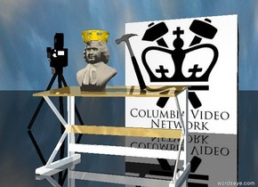 the large hammer and sculpture are on the shiny table. it is facing backwards. it is leaning to the left. the very huge [columbia] cube is 10 feet behind the table. it is cloudy. the ground is black and shiny. The gold crown is -2 inches above the sculpture. the movie camera is 2 1 foot to the left of and in front of the cube. It is 7 feet tall. it is facing the sculpture.