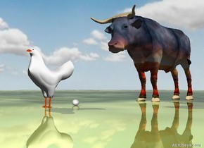 A [flower] ox is 2 feet behind the chicken. The ground has a shiny grass texture. It is cloudy. the egg is under the chicken. it is behind the chicken. it is facing right. it is face up.