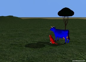 there is a blue cow one foot away from a red dog. the red dog is on the grass mountain range.   a small tree next to a blue cow. There are large pink stone next to the tree. the ground is grass.