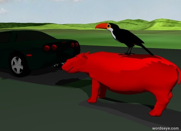 Input text: the road is on the grass mountain range. the tiny red hippo is on the road. the small bird is on the hippo. the road is 80 feet long. the hippo is facing left. it is cloudy. the tiny sports car is 1 foot to the left and behind the hippo. it is facing left.  the green light is 2 feet above the car.