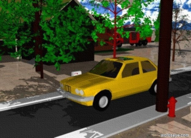 Input text: a car is on the very long street. There is twenty small trees next to the street. The ground has a dirt texture.  There is a  mountain in the background.  There is a hydrant to the right of the street.   There is a telephone pole next to the hydrant.  There is a mailbox two feet from the street.  There is a  barn 20 feet from the street.  There is a house to the back of barn.  There is a truck to the back of the house.  There is a street light to the right of the truck.  There is a small pine tree ten feet to the right of the light.