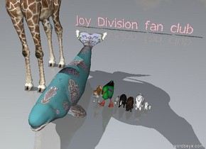 "A giraffe, a paisley beluga whale, an akita inu, a polka dot albatross, an arctic fox, a badger, a beaver,  a large bunny, a bunny, a small bunny.  Pink ""Joy Division fan club"" 20 feet behind the akita inu."