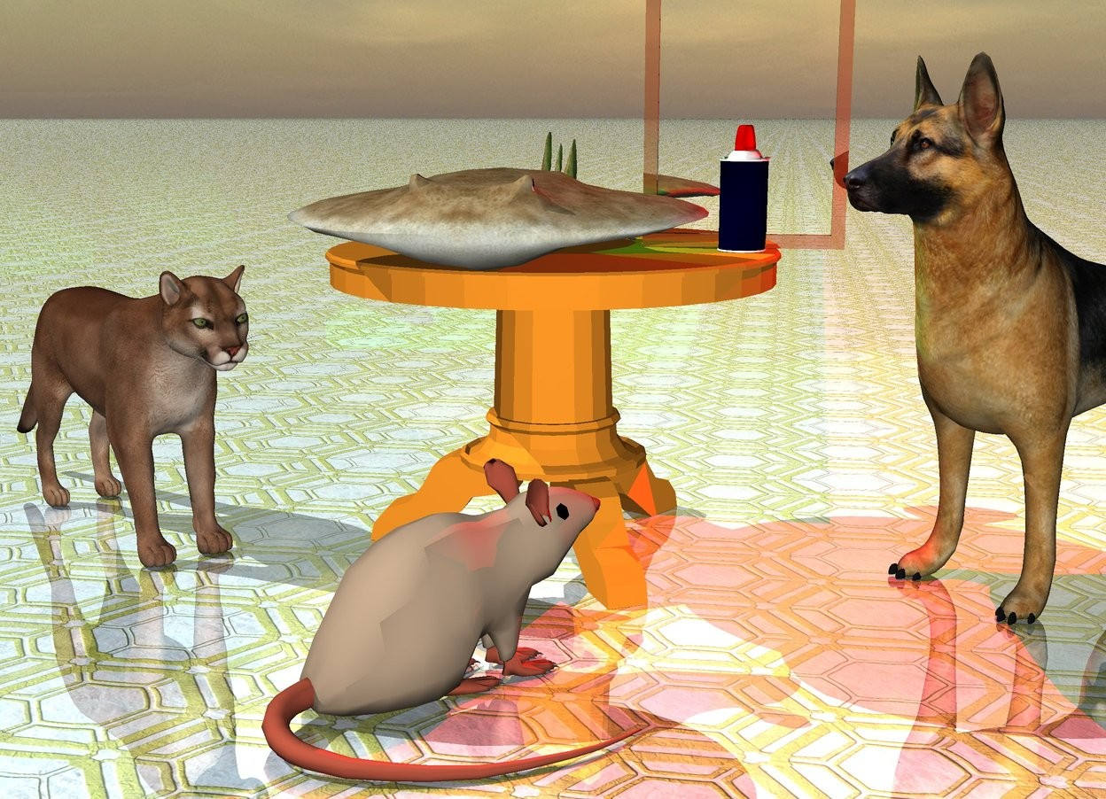 Input text: The cup is on a  table.  The shiny mirror is behind the cup. There is red light to the right of the cup. There is a green light to the left of the cup. The ground has shiny tile texture. The dog is to the right of the table. The cat is to the left of the table. There is a big rat in front of  the table. The rat is facing the dog. The dog is facing the rat.The cat is facing the rat. The food is on the table.