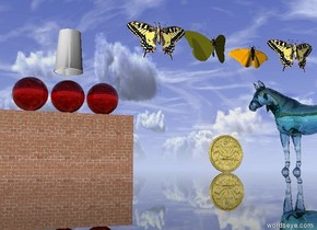 the tiny transparent turquoise horse is on the very large table. it is facing left. the ground is grass. the large gold coin is a couple of inches to the left of the horse. the large brick wall is 30 feet behind the table.   The 4 large butterflies are 3 inches above the horse. they are facing up. the 3 huge transparent red spheres are on the wall. they are 3 inches apart.  the enormous cup is a foot above the spheres. it is upside down.