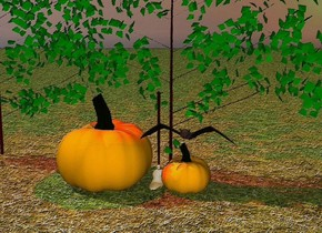 The ground is grass. The orange pumpkin is on the ground. The big bat is above the pumpkin. The small broom is next to the pumpkin. There is a big bat to the left of the bush. There is a bush behind the broom. There is a big orange pumpkin to the left of the broom. There is red light above the pumpkin.