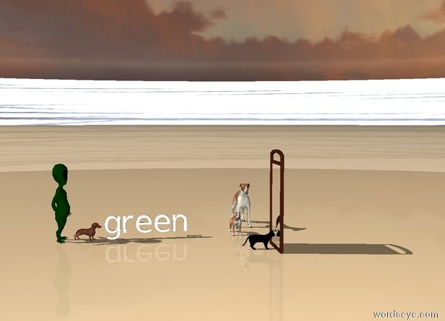 Input text: The black cat is facing the mirror. The mirror is facing the east. Dogs are facing the south. The dogs are one meter behind the cat. The cat is next to the mirror. Another dog is facing the cat.   The ground is green and grass. Grass is on the ground.  The background is the universe.   Human is facing green. A boy in the background.  The ground is navajo white.  The mirror is large.