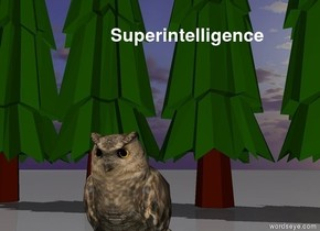 5  tiny firs are 4 feet behind the owl.