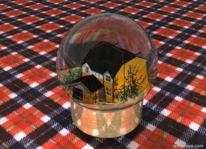 There is a 15 feet tall transparent  sphere. There is a cylinder 2 feet under the sphere. There is a very small light orange house 6 feet above the cylinder. There is 6 feet tall and 12 feet wide shiny wood cylinder 0.001 feet under the house. The ground is enormous fabric. The white light  2 feet on the right of house. The white light 1 feet in front 2 feet above the house. There is 2 tiny spruces on the right of the house. There is 3 tiny spruces on the left of the house.