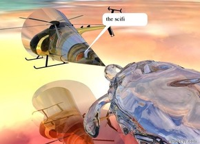 the gold helicopter is 5 feet above the shiny matisse ground. The huge transparent turtle is 4 feet to the right of the helicopter. it is facing the helicopter.  The humongous transparent cone is to the left of the turtle. it is 3 feet above the ground. it is facing left. it is face down.