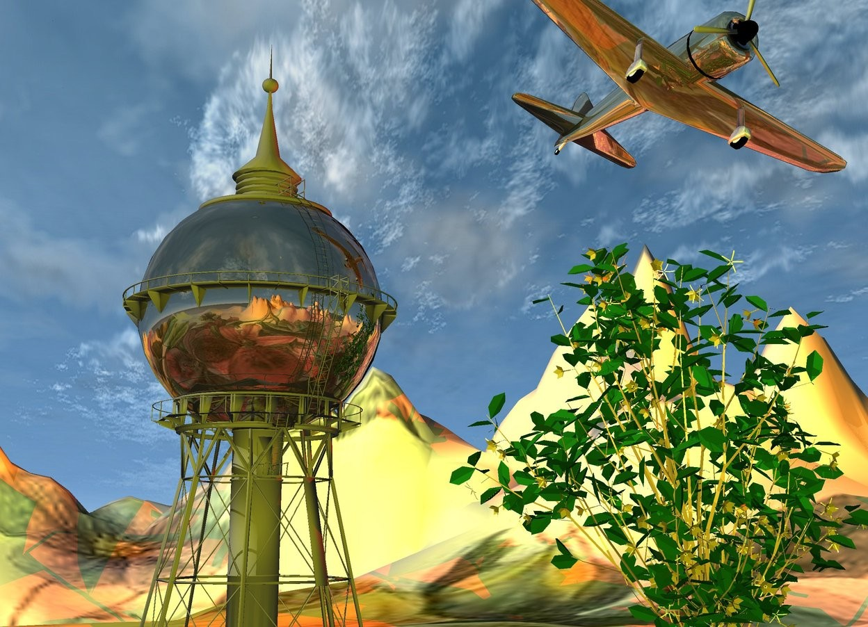 Input text: the  mountain range is 200 feet tall.  it is 800 feet wide. the flower texture is on the mountain range.     the large shiny tower is on the mountain range.  The very enormous  plant is 20 feet right of the tower.  the very large shiny airplane is -20 feet above the tower.  it is leaning left. The airplane is 10 feet to the right of the tower.    the camera-light is yellow.  the red light is three feet under the airplane.