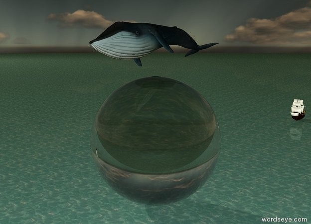 Input text: the small leaning blue whale is 2 foot above the extremely enormous transparent sphere. it is morning. the ground is water. it is dusk. the tiny ship is 100 feet behind the sphere.