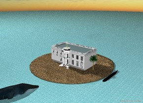 There is a huge sand island. The ground is water. The house is on the island. To the right of the house is a palm tree. There is a big submarine to the right of the island. It is black. It is 5 feet in the ground. There is a big whale 20 feet  in front  of the island. The whale is 15 feet in the ground. The whale is facing the palm tree.