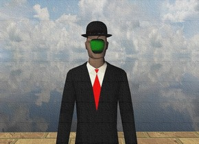 There is a businessman. There is a hat -0.22 feet above the businessman. There is a small green apple if front of the businessman. The apple is 5.25 feet above the floor. The apple is 2 feet in front of the businessman. The ground is transparent. The floor is enormous brick.