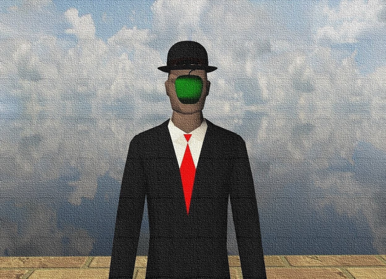 Input text: There is a businessman. There is a hat -0.22 feet above the businessman. There is a small green apple if front of the businessman. The apple is 5.25 feet above the floor. The apple is 2 feet in front of the businessman. The ground is transparent. The floor is enormous brick.