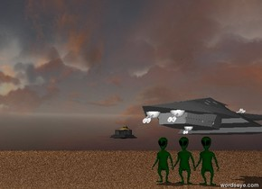 Three large aliens are standing below a spaceship.  The cloudy sky is purple.  The ground is red sand.  An monument is to the left of the spaceship.