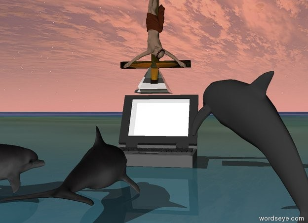 Input text: the computer.The transparent pyramid above the computer. the ground is matisse. the three small dolphins are a couple of feet in front of the computer. they are facing the computer. they are 6 inches apart. it is cloudy. it is two feet long. it is -3 inches in front of the computer. it is tilting 55 degrees to the right.upside down small transparent crucifix  0.2 feet above the computer.