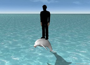 The black man is on top of the white dolphin. The Ground is water