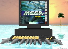 it is cloudy. it is noon. the ground is shiny water.  there is a 6 foot wide 6 foot tall 6 foot deep dark grey computer.   the 9 tiny grey dolphins are in front of the computer. they are facing the computer. they are -4 inches apart. they are -6 inch above the ground.  there is a 4 foot tall 4 foot wide [aesthetic] wall 1.6 feet above the dolphins. it is 2 feet behind the dolphins.  there is a small sand island 100 feet behind the computer. it is  16 feet to the right.  there is a small tree on the island