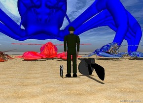 a gigantic red shiny lobster is on the beach. it is noon. The soldier is 14 feet in front of the lobster. The soldier is facing the lobster.  A gun is to the left of the soldier. A large gun is to the right of the soldier.The soldier is small. 4 huge lobsters are to the left of the red lobster. A 60 foot tall blue lobster is behind the red lobster. the large gun is facing the blue lobster. A gigantic Silver lobster is to the right of the red lobster