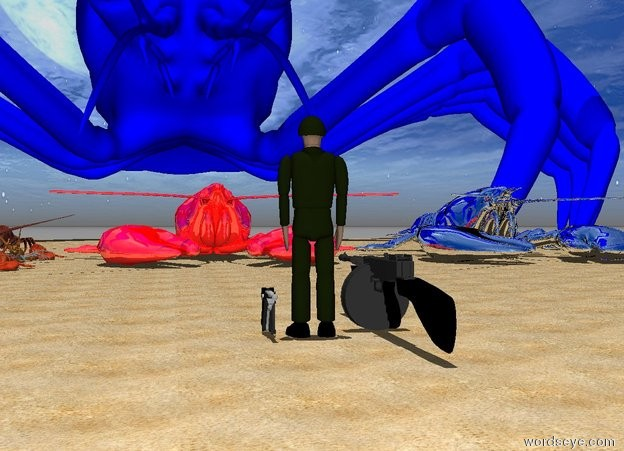 Input text: a gigantic red shiny lobster is on the beach. it is noon. The soldier is 14 feet in front of the lobster. The soldier is facing the lobster.  A gun is to the left of the soldier. A large gun is to the right of the soldier.The soldier is small. 4 huge lobsters are to the left of the red lobster. A 60 foot tall blue lobster is behind the red lobster. the large gun is facing the blue lobster. A gigantic Silver lobster is to the right of the red lobster