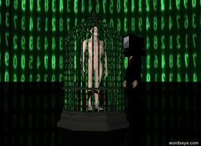 the ground is black. the sky is [matrix].  there is an 8 foot tall [matrix] cage. it is facing east.  there is a 6 foot tall man in the cage. he is facing south.   there is a black man to the right of the cage. he is facing the cage.   there is a black computer -1.1 feet above the black man. the computer is facing the cage. the computer is -1.2 feet to the left of the black man.