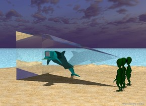 the ground is shiny water. there is a sand island. it is noon.  there is a 6 foot tall teal dolphin on the island.   there is a teal computer -1.5 feet above the dolphin. the computer is -1.3 feet in front of the dolphin. it is -2.2 feet to the right of the dolphin.  there are 3 aliens 10 feet to the right of the dolphin. they are facing the dolphin.   there is a 20 foot tall 10 foot wide 10 foot deep transparent pyramid to the left of the aliens. it is leaning 90 degrees to the left.