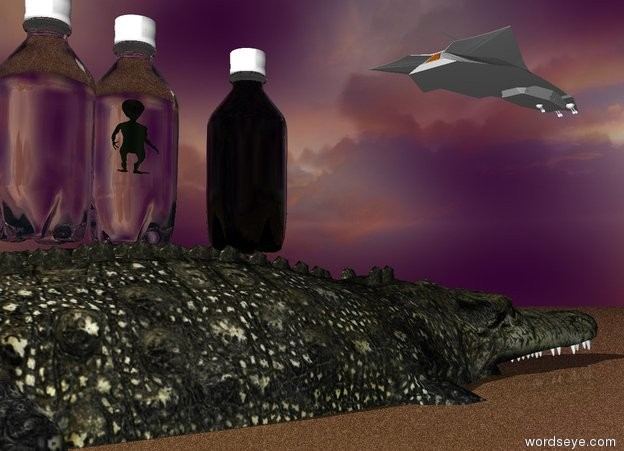 Input text: The humongous crocodile is in the ground. it is facing right.   The cloudy sky is purple.  The ground is red sand.  the very humongous white transparent bottle is on the crocodile. A spaceship is 6 feet above and 60 feet to the right of the bottle. it is facing right.   A large alien is 22 feet in the bottle.   another very humongous white transparent bottle is next to the bottle. a green transparent very humongous bottle is 20 feet to the right of the bottle.