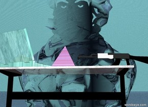 the 10 foot tall transparent glass man is facing the glass table. the glass pyramid is on the glass table. the big glass computer south of the pyramid. the table is facing the man. the computer is facing the man. the gun is north of the pyramid. the gun is facing south. the green light is above the table. the sky is water. the ground is water. white light above pyramid.