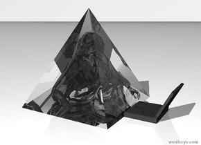 the ground is white. the sky is white.  there is a giant transparent pyramid on the ground.   there is a transparent statue -3 feet below the pyramid. it is -3.45 foot in front of the pyramid.   there is a dark grey 1.5 foot wide computer on the ground in front of the pyramid. it is facing the statue.