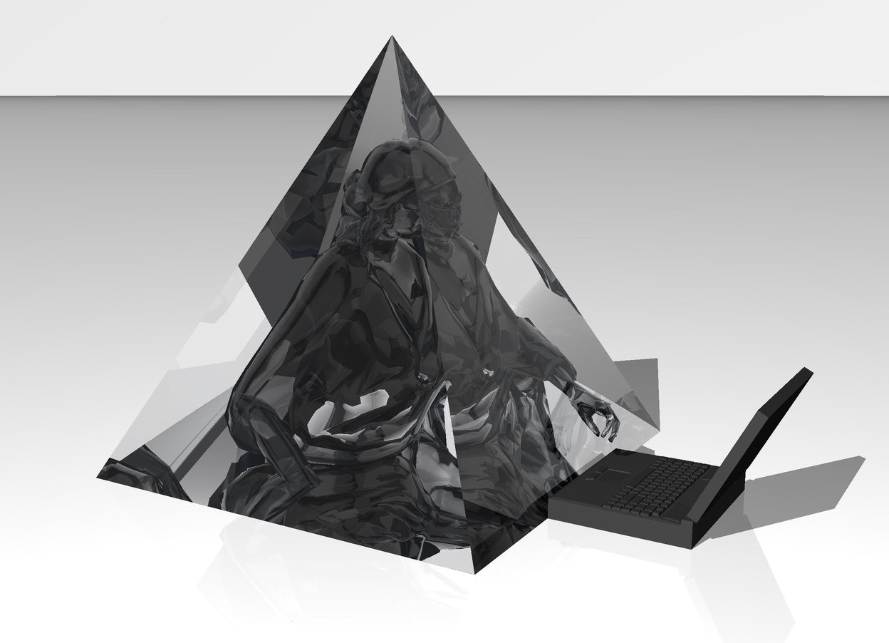 Input text: the ground is white. the sky is white.  there is a giant transparent pyramid on the ground.   there is a transparent statue -3 feet below the pyramid. it is -3.45 foot in front of the pyramid.   there is a dark grey 1.5 foot wide computer on the ground in front of the pyramid. it is facing the statue.