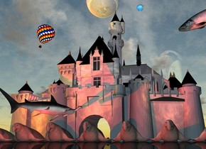 The castle is cloudy. There is a very enormous shiny gray sphere above the castle. There is a shiny large globe to the right of the sphere. The globe is 10 feet to the right. The small hot air balloon is under the globe 50 feet to the left. The hot air balloon is leaning to the left. The huge shark is 30 feet in front of the castle. The shark is facing the globe. The shark is 5 feet above the ground. There is a very enormous fish 70 feet to the right of the hot air balloon. The fish is facing the hot air balloon. The fish is leaning forward. The shark is leaning to the left. The orange light is one foot above the ground. The second red light is under the fish. The ground is shiny black. There are 8 huge elephant seals in front of the castle.