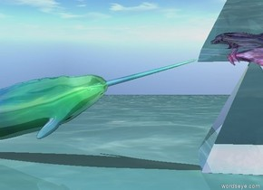 the glass dolphin fits in the transparent pyramid.  the transparent pyramid is on the transparent pyramid.  the ground is pale water.  there is very small glass whale facing the dolphin.   the dolphin is facing the whale.