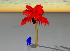A blue elephant is under the red tree
