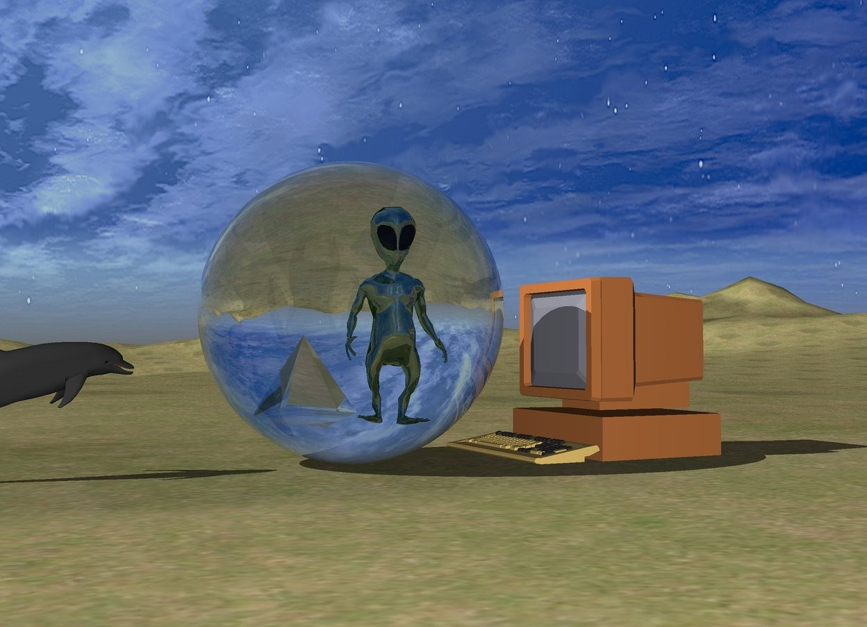 Input text: the dolphin is on the grass mountain range. it is facing right. the enormous transparent sphere is a couple of feet to the right of the dolphin. the huge computer is to the right of the sphere. it is facing the sphere.   the shiny alien is 7.5 feet in the sphere.  the transparent big pyramid is 7.5 feet in the sphere