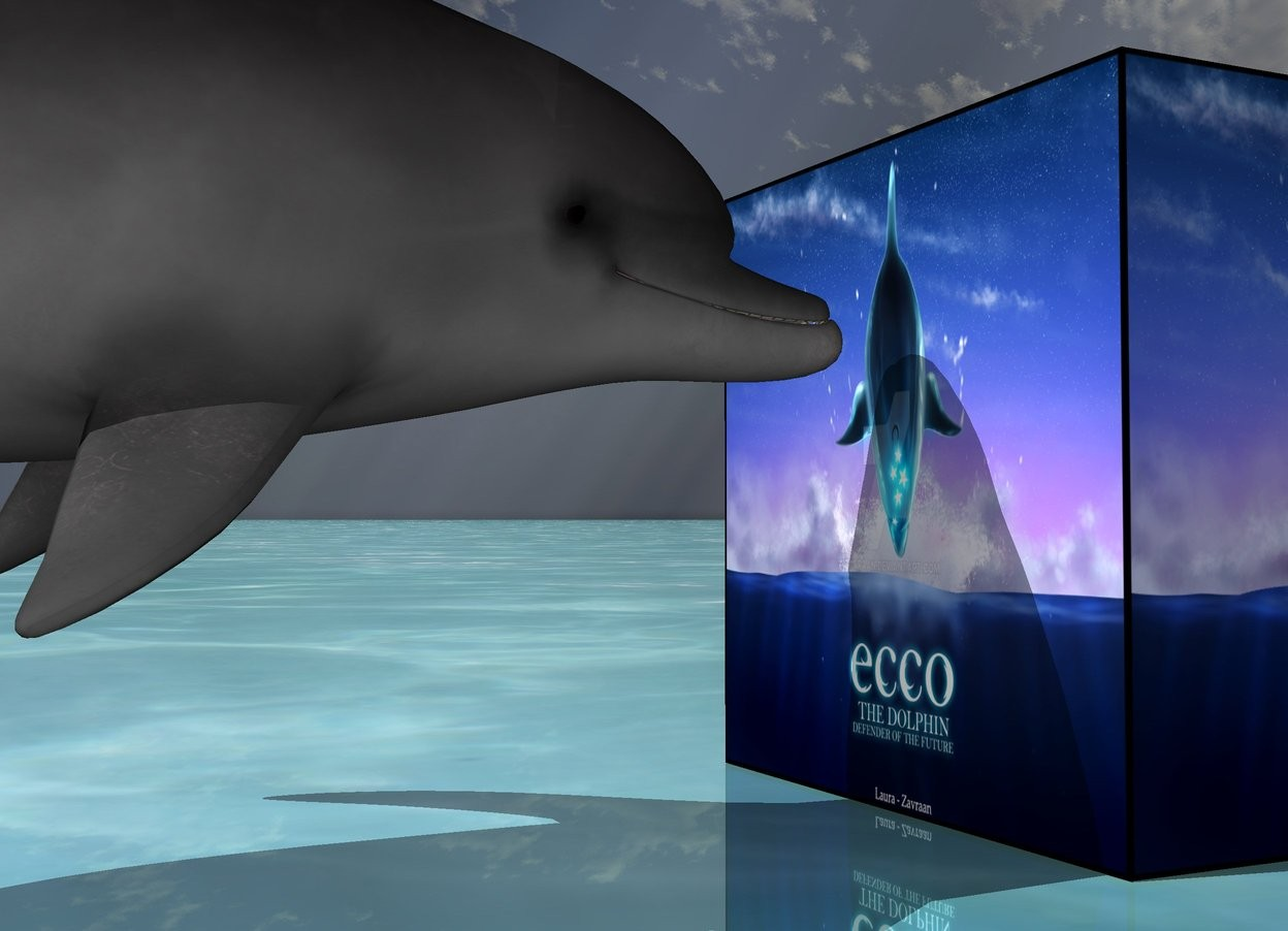 Input text: the [image-7911] cube. the shiny ground is water. the small dolphin is 1 inch to the left of the cube. dolphin is 4 inches above the ground. dolphin is facing the cube.