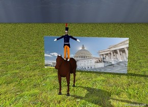 the  man is on a horse.  The horse is 10 feet in front of a [Congress] wall.     The ground is grass .
