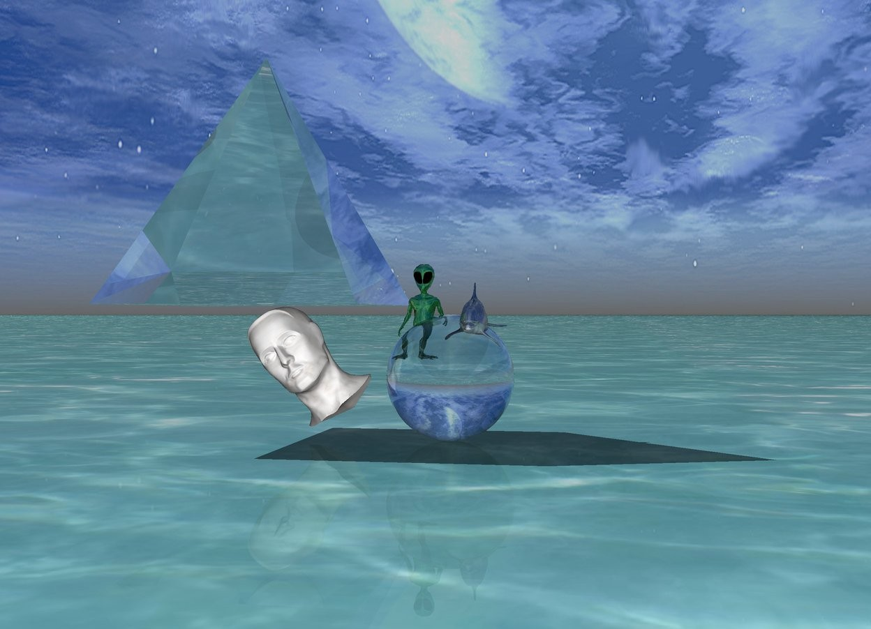 Input text:  the shiny alien fits in the transparent sphere.  the transparent big pyramid is on the white marble head.    The sphere image is 8 foot wide. The sphere image is 8 feet tall.   the ground is water.  the shiny dolphin fits in the sphere.  the dolphin is 6 inches tall.  the dolphin is 5 inches wide.  the head is tilting 40 degrees to the right.
