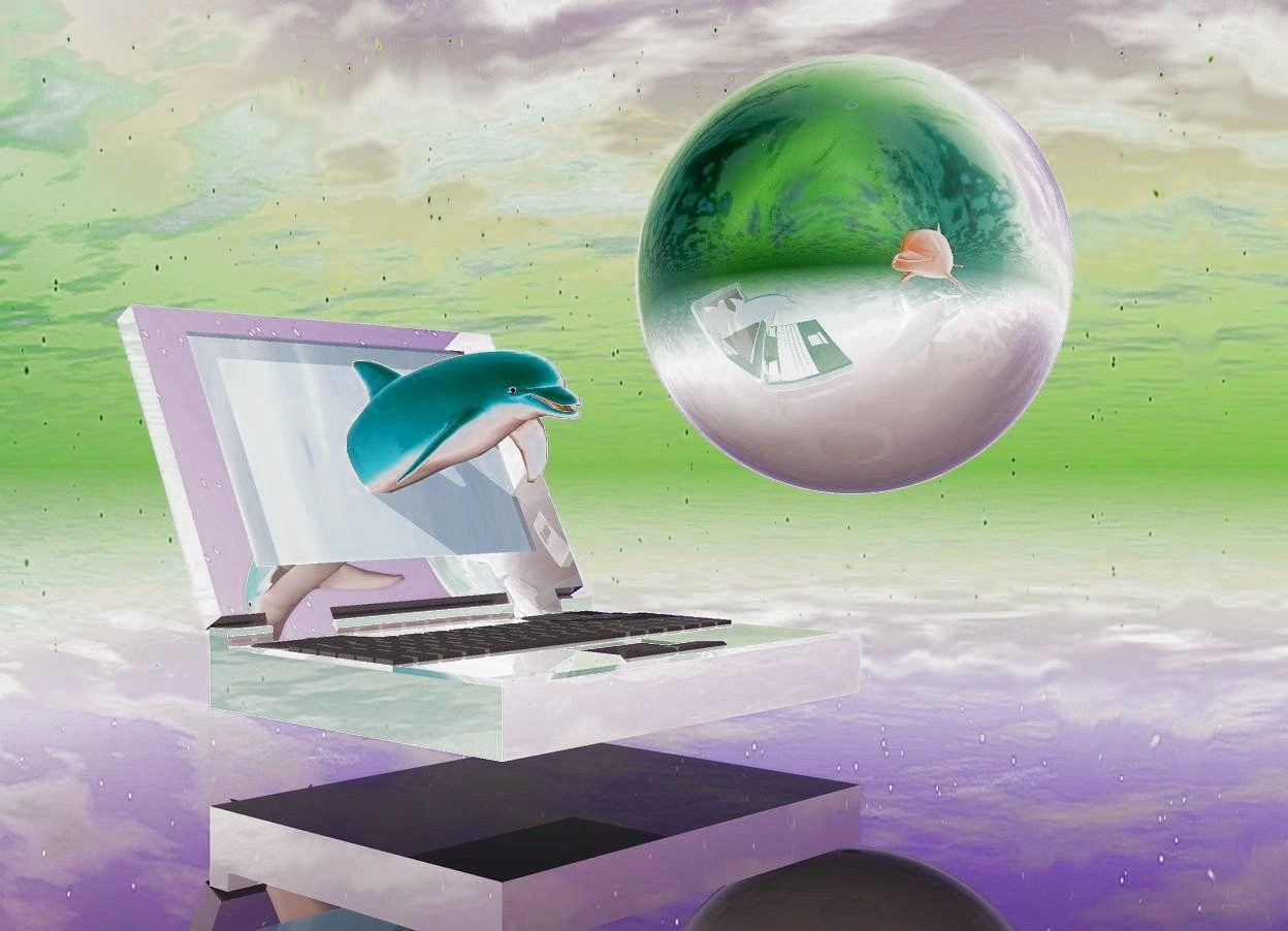 Input text:  The giant shiny laptop is 4 inch above the ground. The small pink dolphin is -55 inch in front of the laptop. The dolphin is 9 inch above the ground. The ground is transparent. The screen of the laptop is water. The big gray shiny orb is 10 inch on the right side of the laptop. The orb is 20 inch above the ground. A bright light is on the right of  the orb. The giant cyan dolphin is facing the pink dolphin. The cyan dolphin is 5 feet in front of the pink dolphin. The camera-light is bright pink.