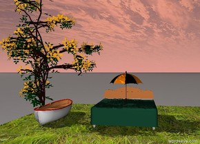 An umbrella on a bed.  a boat three foot next to the bed.  Flower on the boat.  A grass floor under the bed.