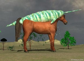 the large horse is on the tall grass mountain range. the large glass narwhale is 6.6 feet in the horse. Six very small trees are 10 feet to the right of the horse.