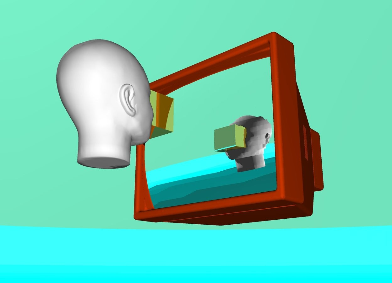 Input text: it is day. the background is shiny cyan. the ground is teal. the sky is shiny aquamarine. the camera light is orange red. the television is orange red. the television is 20 inch above the ground. the screen of the television is  silver. the big white head is facing the screen of the television. the head is on the front of the television. the head is 25 inch above the ground. the head is 1 feet away from the television. The small gold block is in front of the head. The block is -20 inch away from the head. The block is 32 inch above the ground. the eye is in front of the block facing the television. the camera light is white.