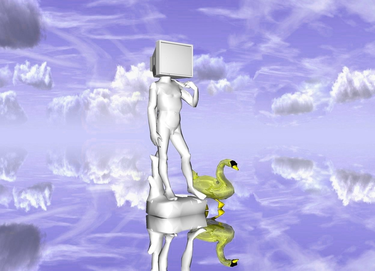Input text: It is noon. the small white statue. the small white television is 62 inch above the ground. the television is  -20 inch on the left of the statue. The ground is silver. The golden bird is left to the television.