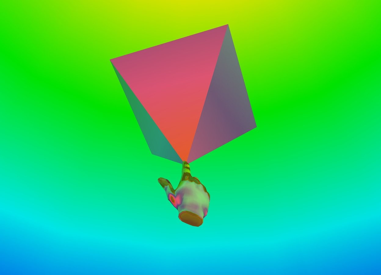 Input text: The sky is rainbow. The enormous upside down gold pyramid is 30 feet above the floor. the ground is purple. The enormous gold hand is under the pyramid. The hand is facing the pyramid.