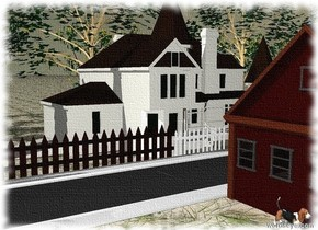 There is a house on the ground.  The ground has a grass texture..  There is a small pine tree to the left of the house.  There are five maple trees behind the house.  There are ten rubber trees behind the maple trees.  There are ten cherry trees behind the maple trees.  There is a long fence in front of the house.  There is a small volkswagen  to right of  the house.  There is a small red volkswagen bus five feet to the right of the house.  There is a long fence next to the fence.  There is a long fence next to the fence.  There is a long street in front of the fence.  The street is facing left.  There is a street to the right of the  street.  The street is facing left.  There is a  house in front of the street.  The house is facing left.  There is a basset hound to the left of the house.