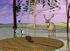 The 7 tiny trees are on the shiny grass mountain range. the deer is in front of the trees. the sand circle is in front of the deer. the tiny golf cart is 1.5 feet to the left of the deer. the small golf club is on the circle. the large tan golf ball is 9 inches in the deer.