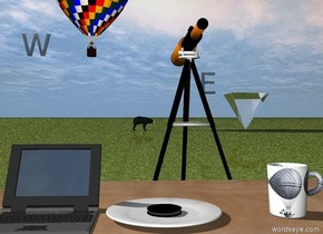 "the ground is grass.   a [wordseye] mug is on the wood desk. a plate is next to the mug. it is 5 inches away from the mug. a cookie is on the plate.  the mug is facing left.   a  bear is 100 feet behind the desk. it is facing right.  the tall telescope is 3 feet behind the desk.  it is facing the bear. the hot air balloon is to the left of the bear. it is 20 feet above the ground. the enormous transparent upside down pyramid is 20 feet to the right of the bear. the giant black shiny ""E"" is 12 feet to the right of the bear. It is 10 feet above the ground. The giant black shiny ""W"" is left of the balloon. a laptop is 1 inch to the left of the plate. it is -1 inches above the desk. the screen of the laptop is black and shiny."